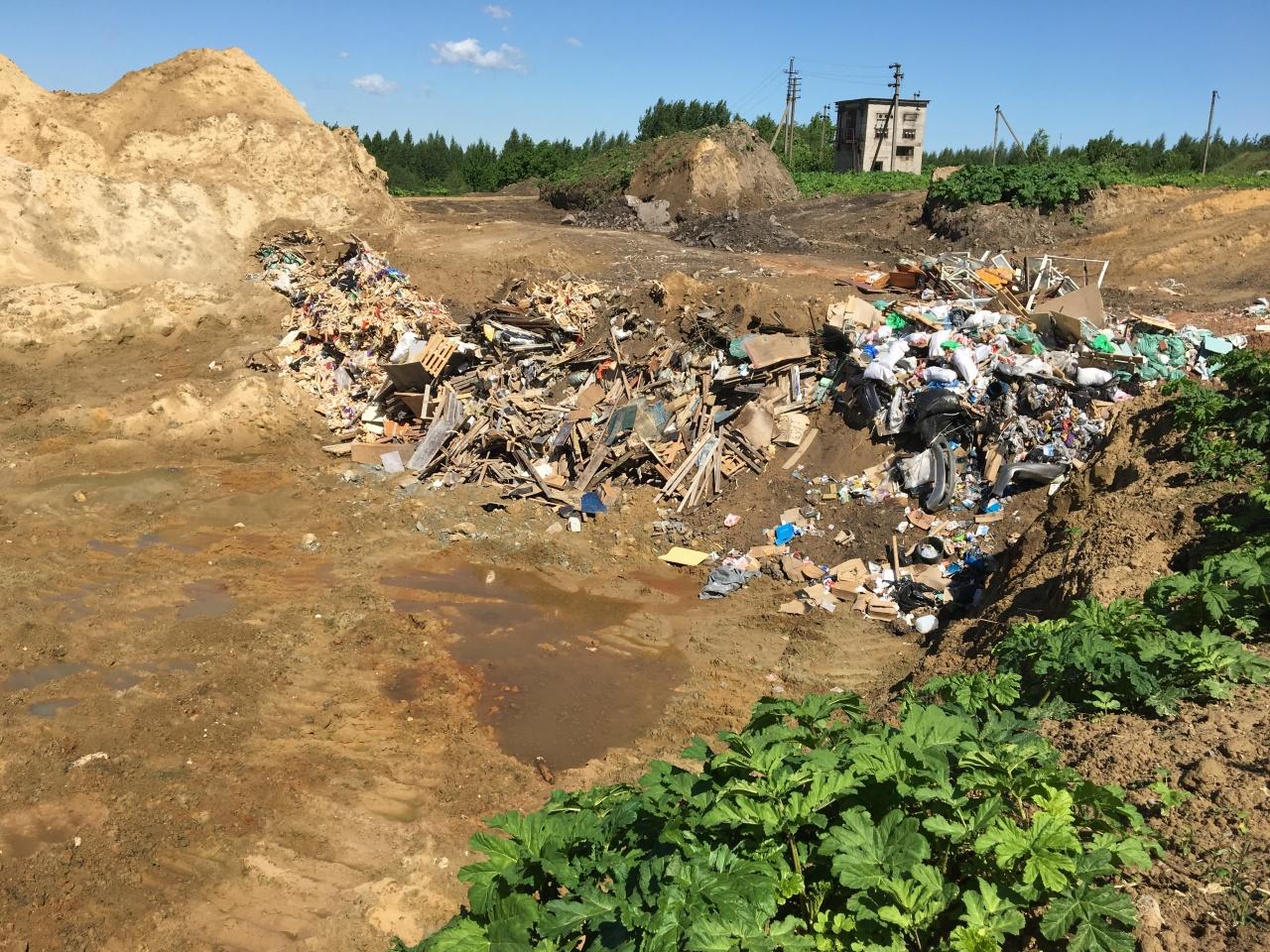 фото ЗакС политика В незаконном карьере в Мяглово нелегально складируется мусор
