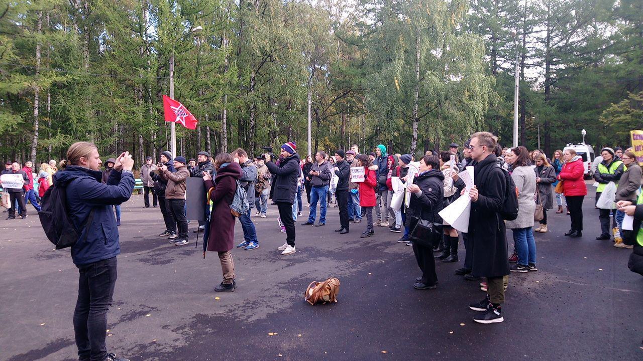 фото ЗакС политика В Петербурге на митинг в защиту Шиеса пришли около 80 человек
