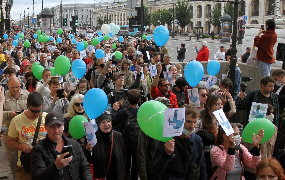фото ЗакС политика На участников шествия в Петербурге составляют протоколы о нарушении режима самоизоляции