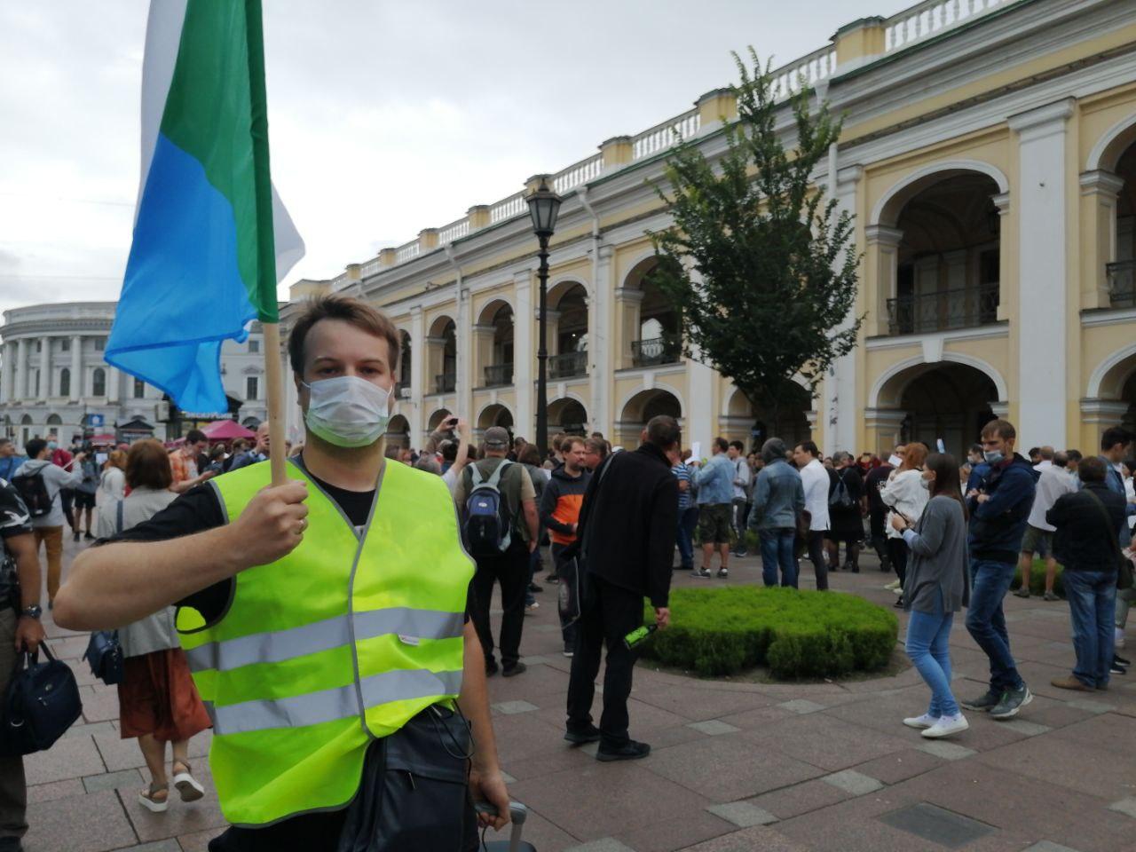 фото ЗакС политика Акция солидарности с белорусами и хабаровчанами началась у Гостиного двора